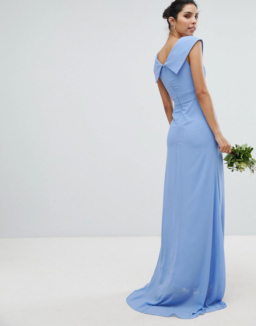 c46629fd2e9 TFNC London Bardot Maxi Bridesmaid Dress With Fishtail And Embellished  Waist in Blue - Lyst