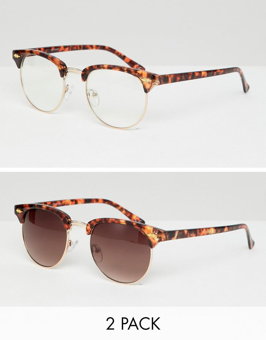 ed61f07642 Lyst - Asos Design 2 Pack Retro Sunglasses In Tort With Clear Lens ...