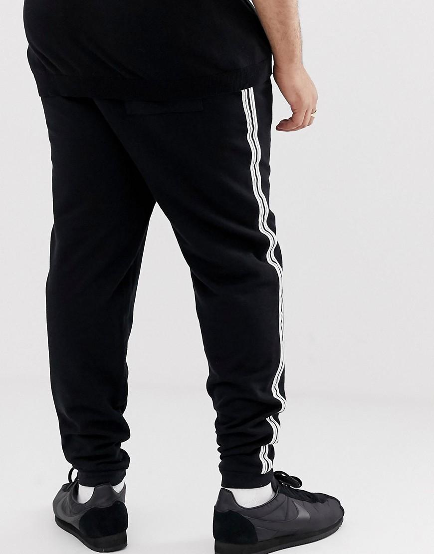 99323d01 ASOS Plus Skinny joggers With Side Stripe Taping In Black in Black for Men  - Lyst