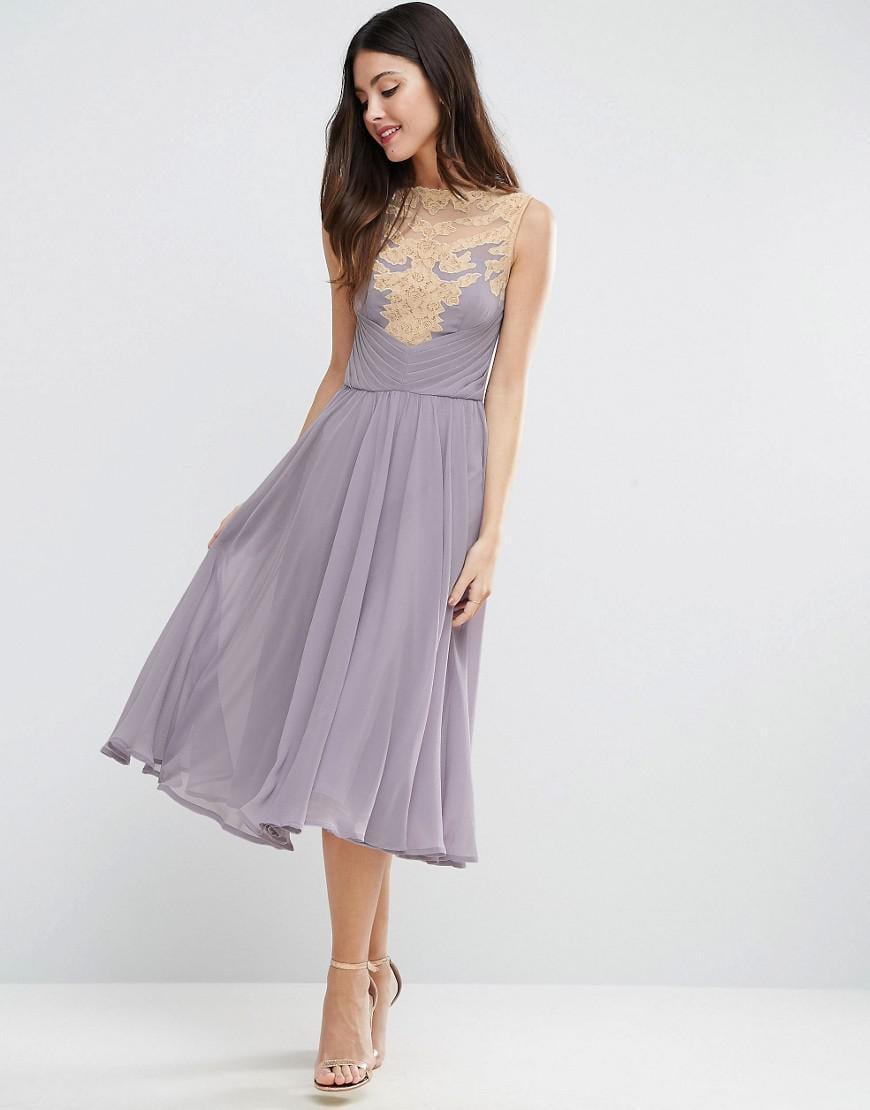 9fd1e977899c Lyst - ASOS Wedding Lace Applique Midi Dress in Purple