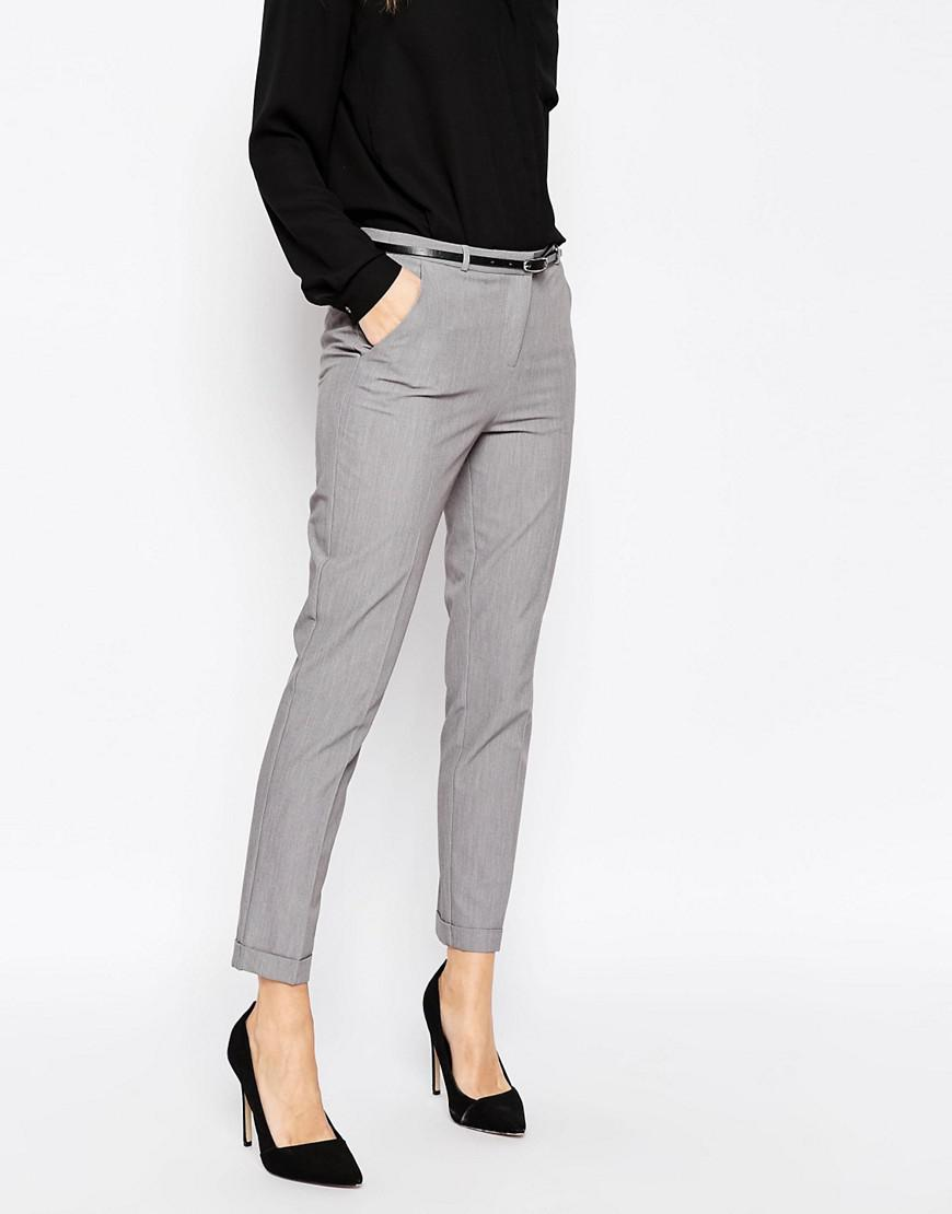 Lyst Asos Cigarette Trousers With Belt In Gray