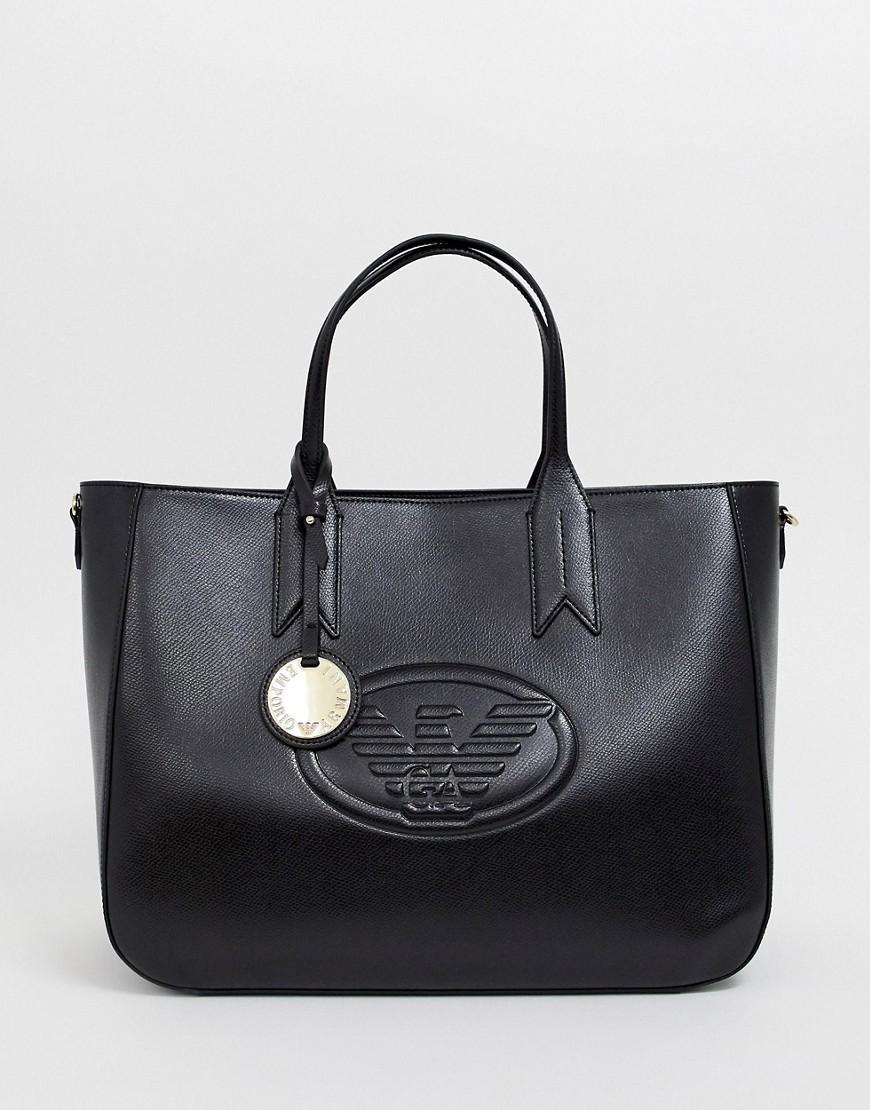 f6eb457c8442 Lyst - Emporio Armani Logo Tote Bag in Black