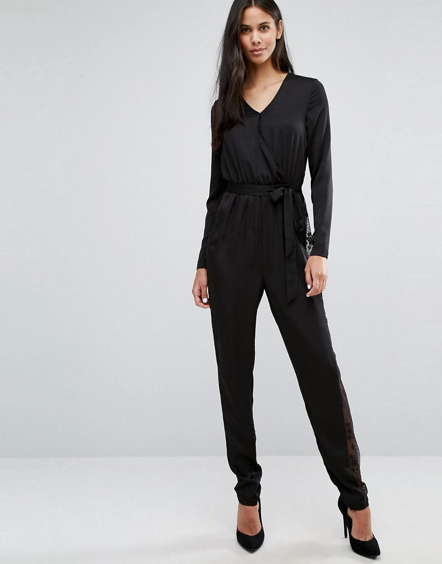 f3880b33e75 Y.A.S Lacey Long Sleeve Jumpsuit With Lace Side Panels in Black - Lyst