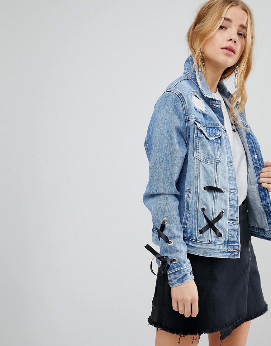 Femme Urban En Jean De Bliss Bleu Veste Coloris À Laçage 6aRqO4ga