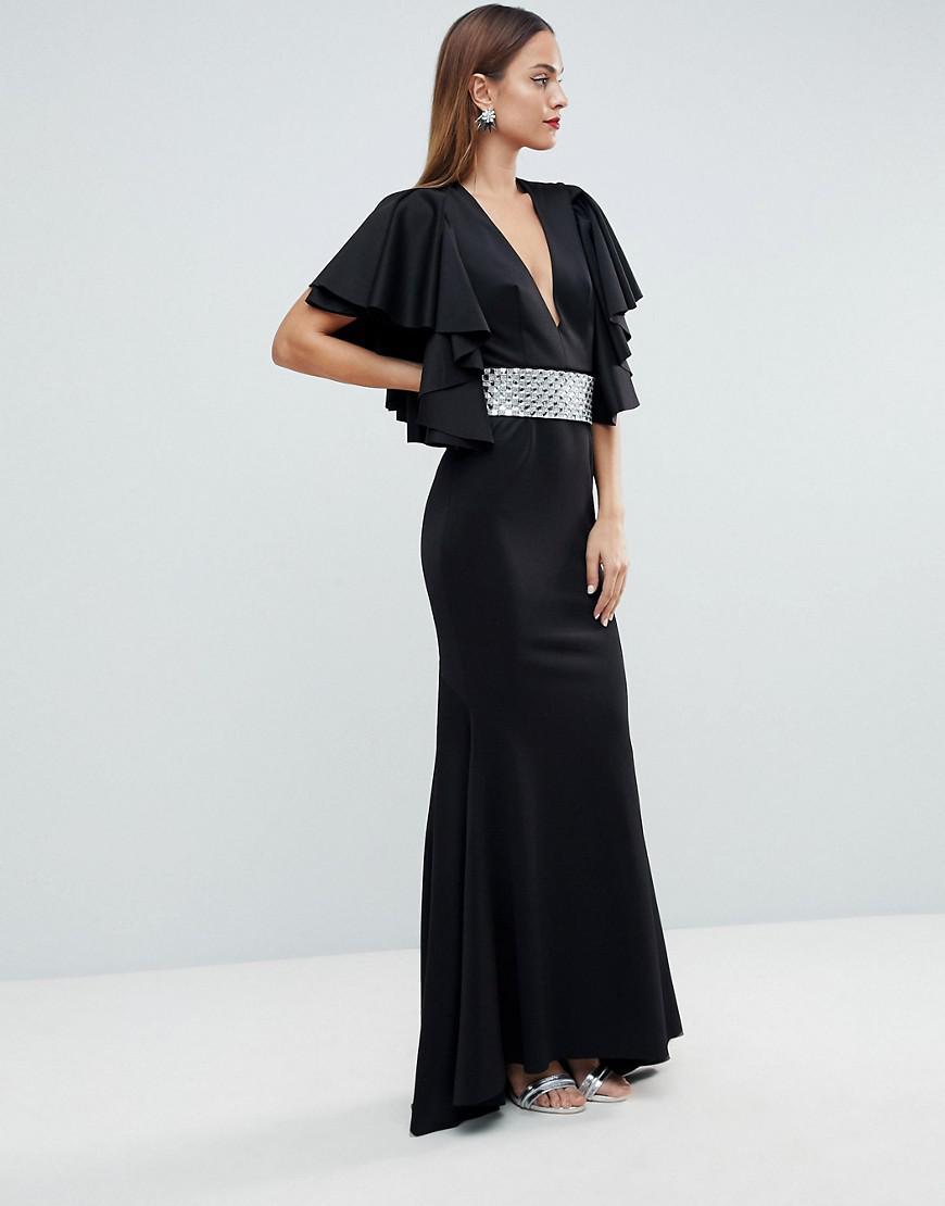 a5dba88a4328 ASOS. Women's Black Red Carpet Deep Plunge Scuba Ruffle Sleeve Maxi Dress  ...