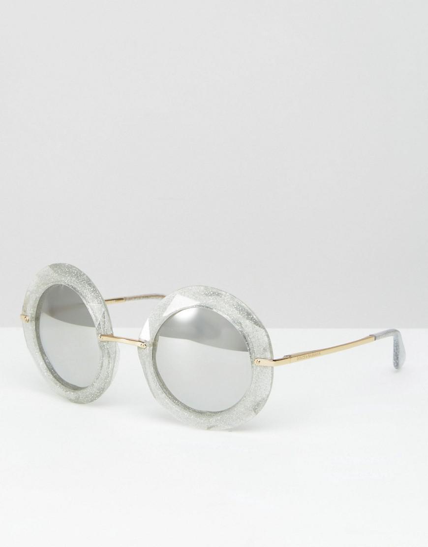 1701f009 Dolce & gabbana Oversized Round Sunglasses In Silver Glitter in ...