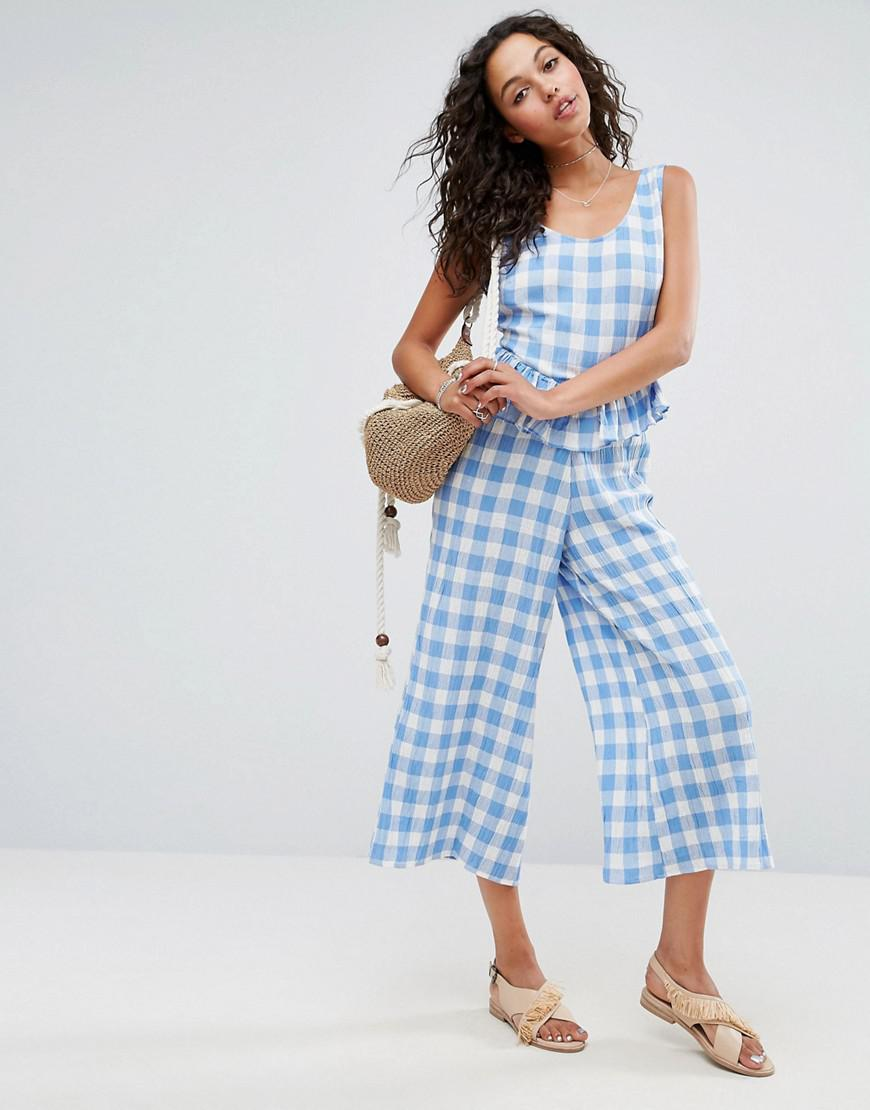 Many Kinds Of  DESIGN lace trim button front cami jumpsuit in gingham - Blue/white Asos Clearance Authentic qrhVl7tK