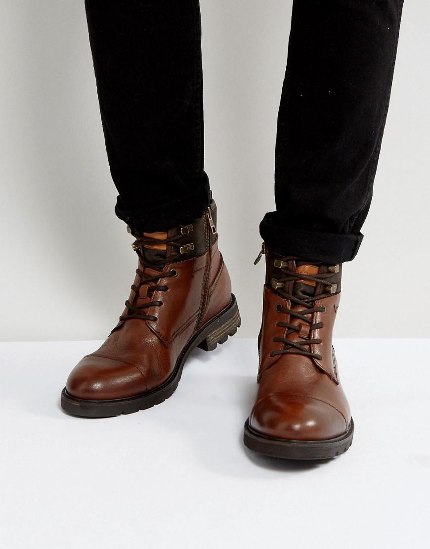 728628c1e Tommy Hilfiger Curtis Leather Boots In Brown in Brown for Men - Lyst