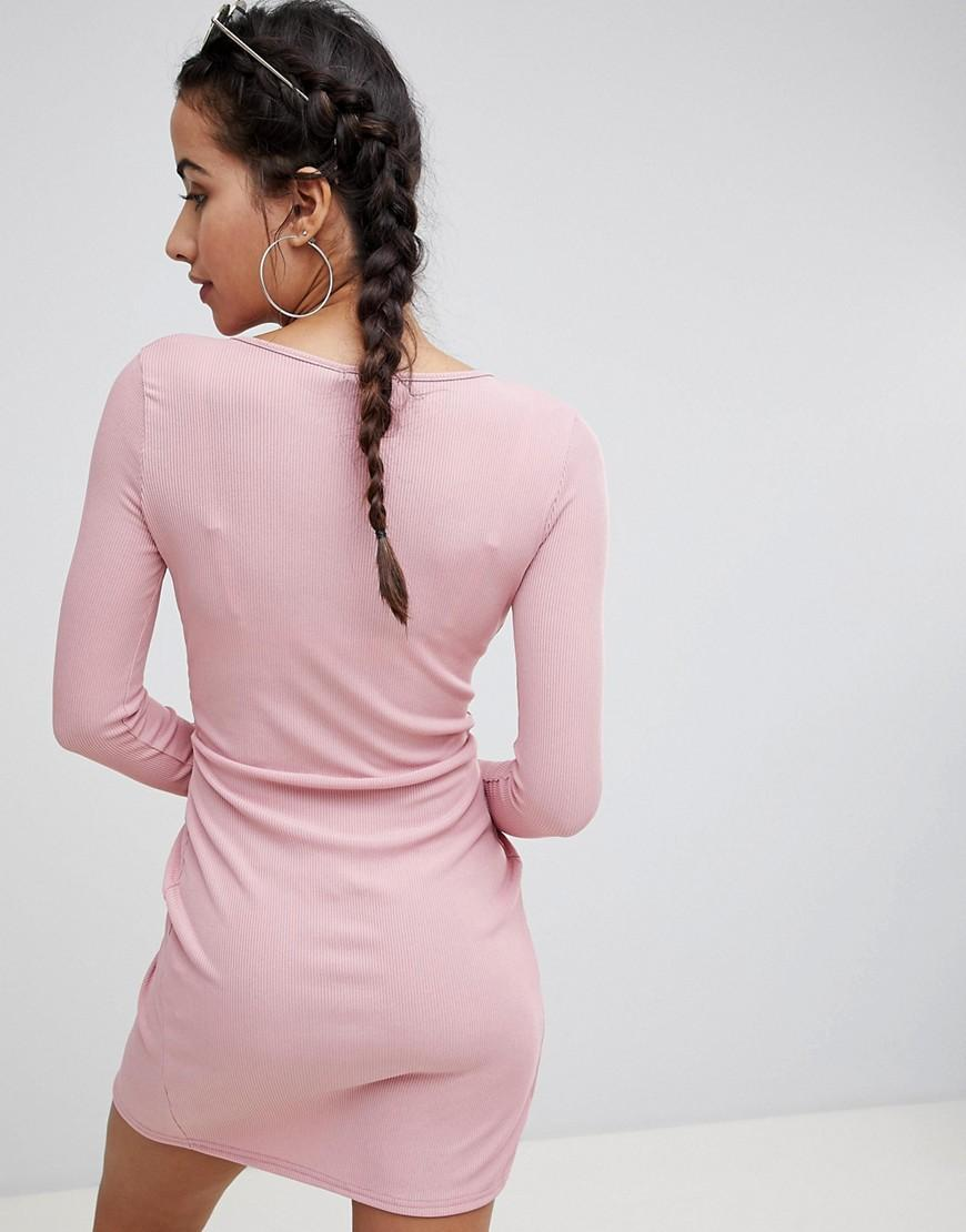 fc09f7fc7e Boohoo Exclusive Ribbed Wrap Detail Dress in Pink - Lyst