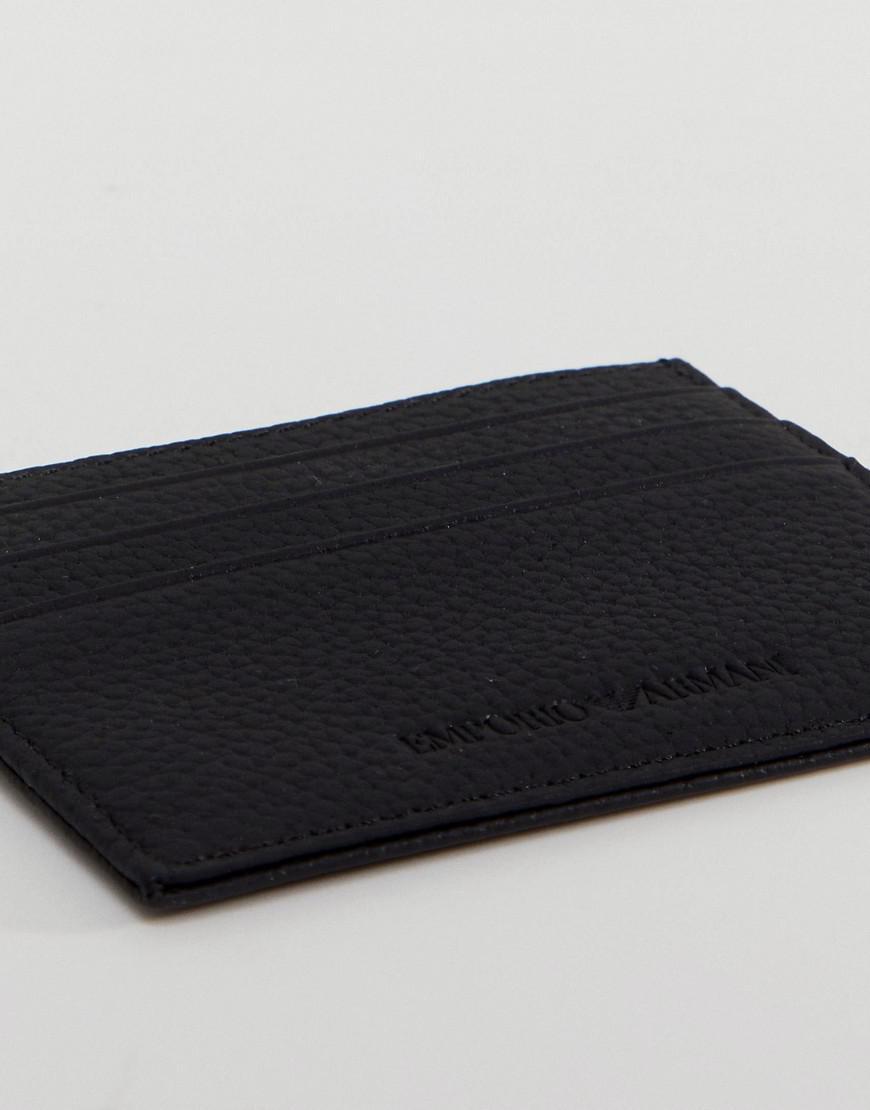 72faffaa490 Lyst - Porte-cartes en cuir grainé avec logo Emporio Armani pour ...