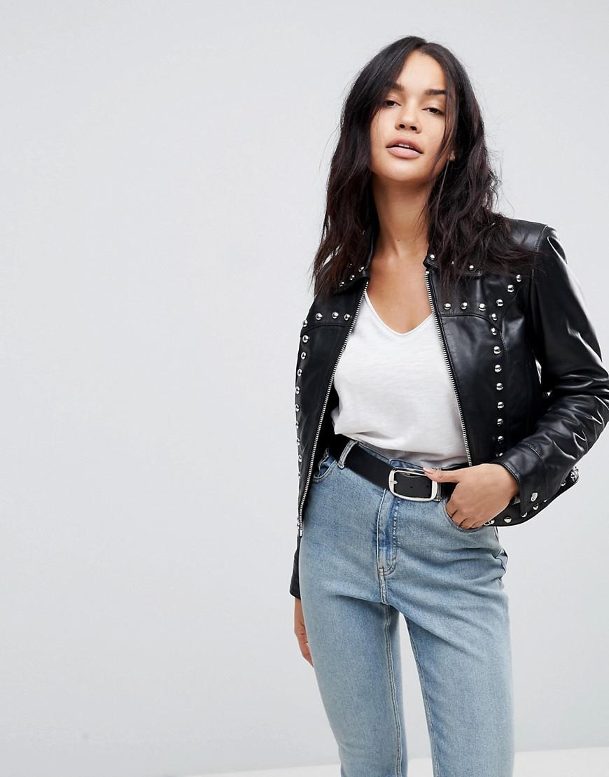 ASOS. Veste en jean zippe style western avec clous fantaisie femme de  coloris noir 5d96dfd1f8c7