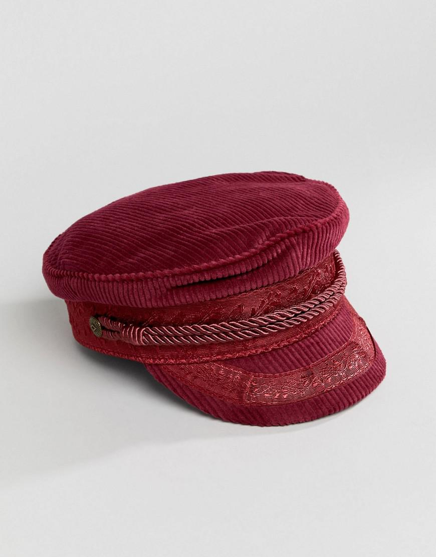 0e2b6ba67d4 Lyst - Brixton Baker Boy Hat In Burgundy Cord in Red