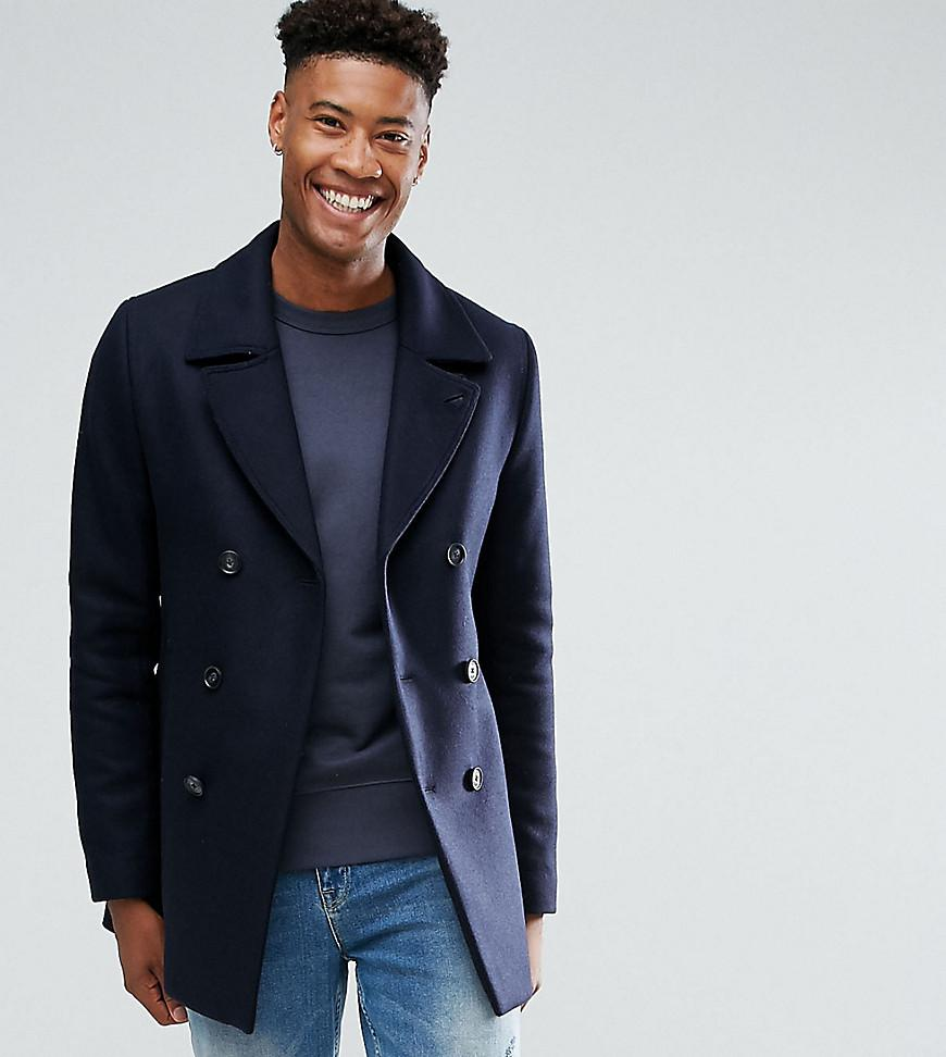 67ff15d7b565e8 Lyst - Ted Baker Tall Wool Peacoat in Blue for Men
