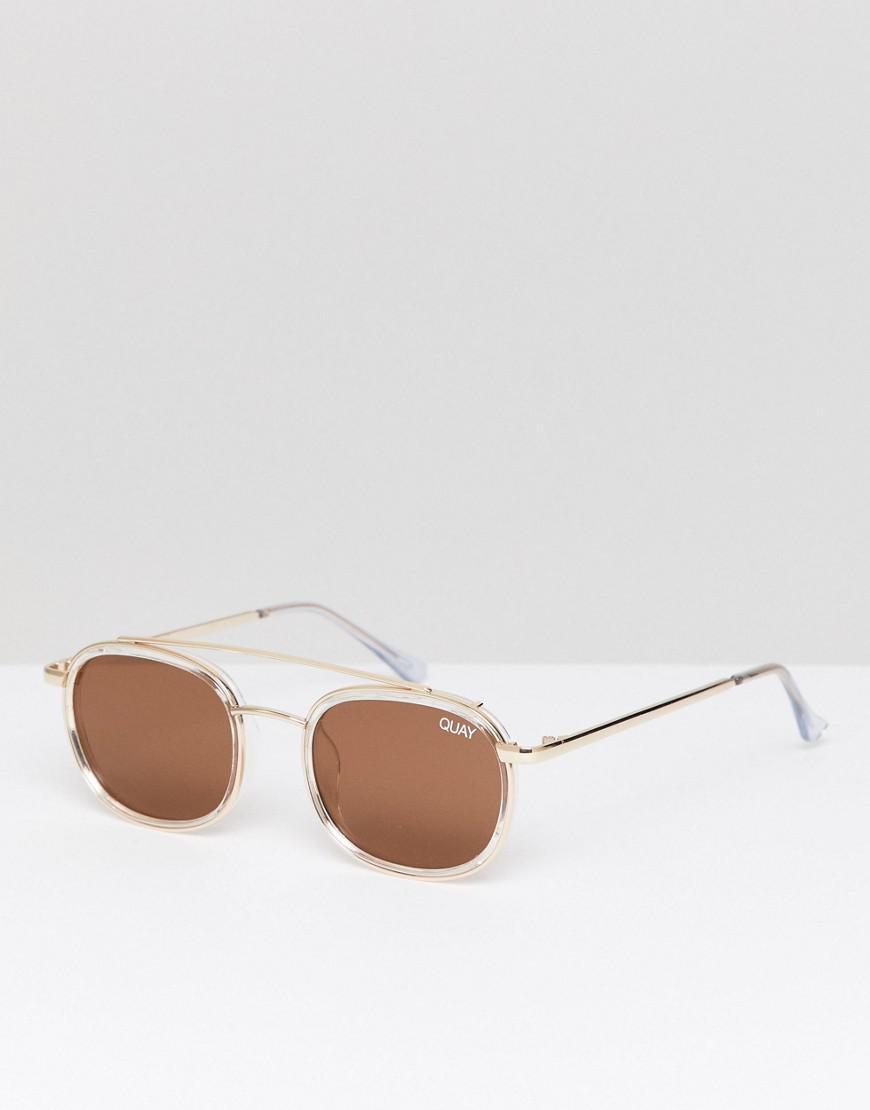 485b149ab414c Quay Got It Covered Round Sunglasses In Gold in Metallic for Men - Lyst