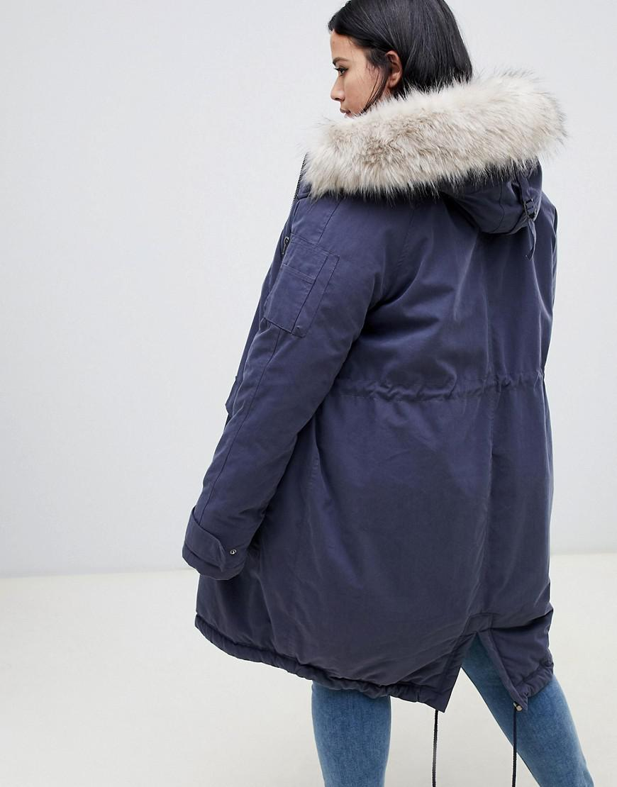 48cefc52f6b Lyst - ASOS Asos Design Curve Luxe Parka With Faux Fur Trim in Blue