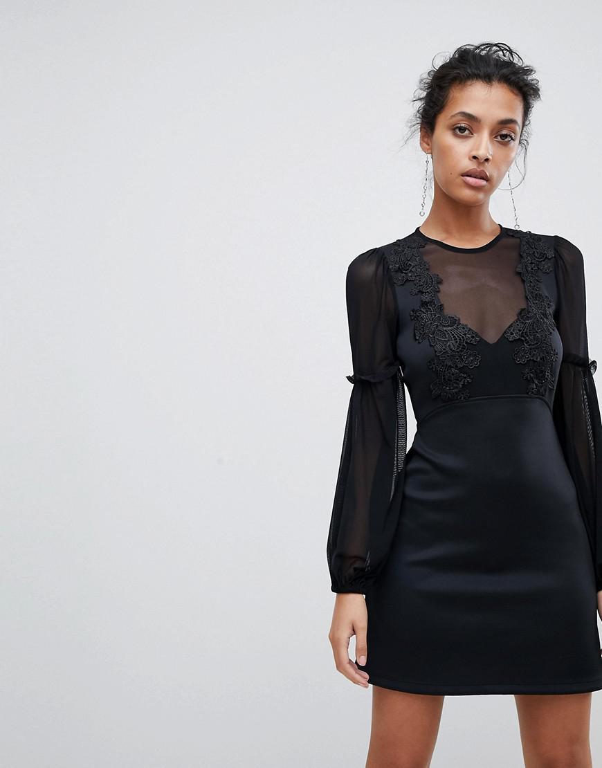 d1e481ba7b23 Lyst - ASOS Asos Blouson Lace A-line Mini Dress in Black