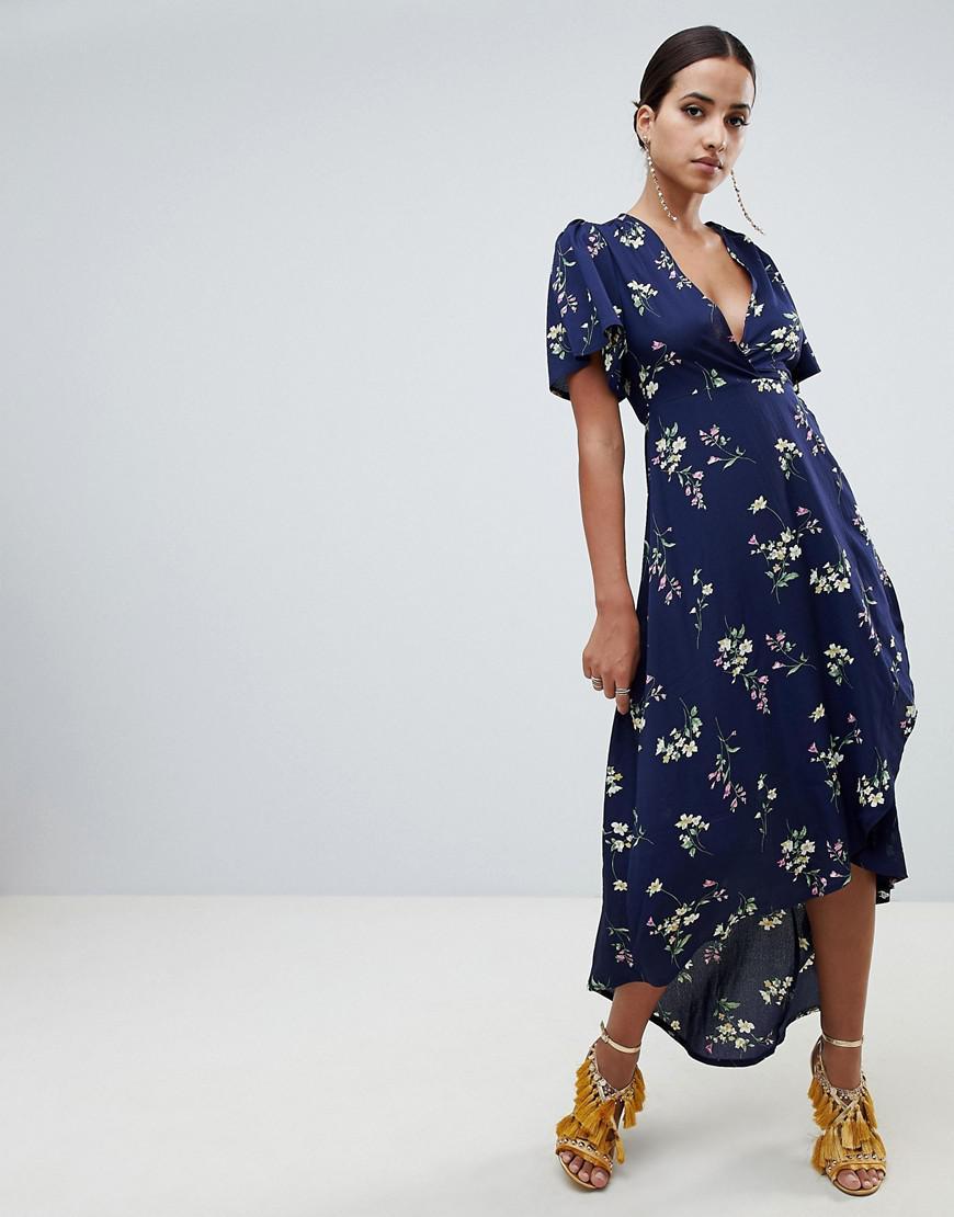 bddcd4dcc5e6 Missguided Floral Wrap Front Midi Dress