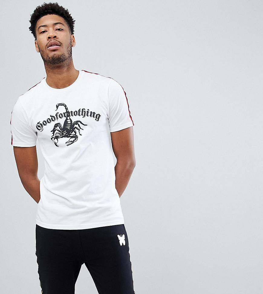Outlet From China Muscle T-Shirt In White With Scorpion Logo And Taping Exclusive To ASOS - White Good For Nothing Get To Buy Online nv1IF