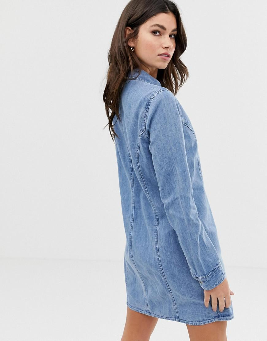 0e02e898 Asos Denim Fitted Western Shirt Dress In Midwash Blue in Blue - Lyst