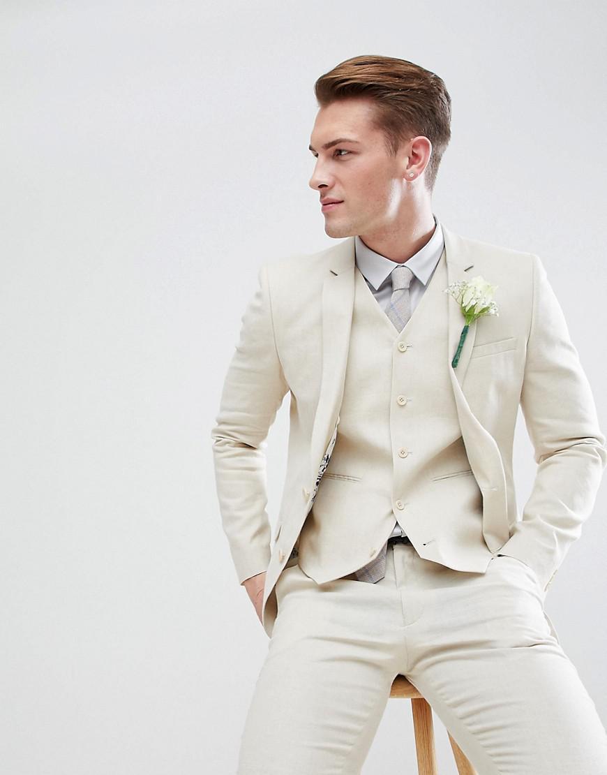 69db53ab3a08c Lyst - ASOS Asos Wedding Super Skinny Suit Jacket In Stone Linen for Men