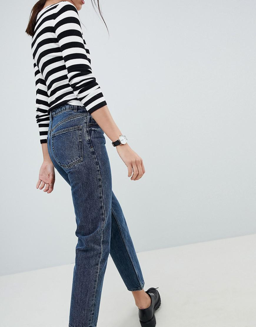 DESIGN recycled florence authentic straight leg jeans in viola deep blue wash - Deep blue Asos q1CbP