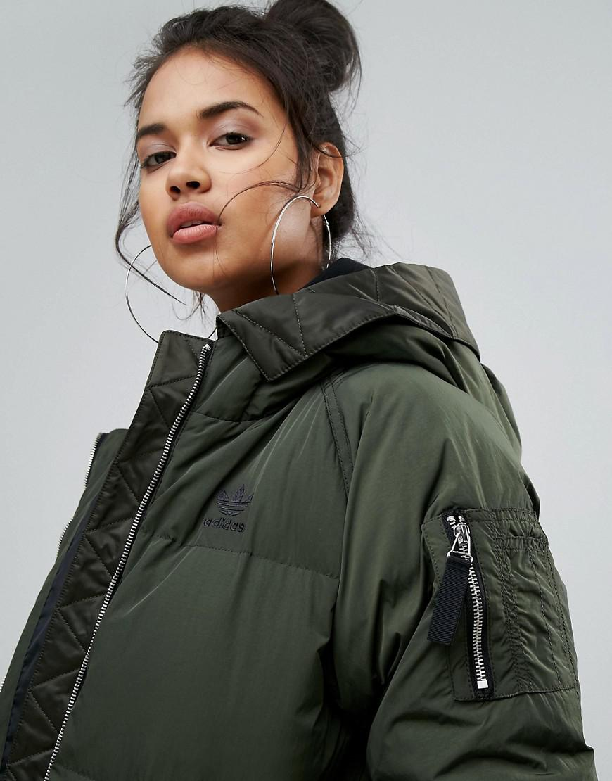 Lyst - adidas Originals Originals Long Bomber Jacket In ...