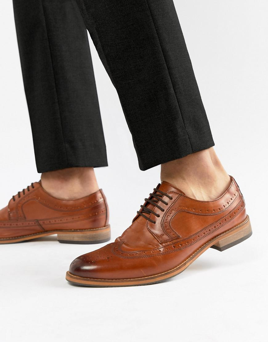 49c7760e5815 ASOS Brogue Shoes In Polished Tan Leather in Brown for Men - Lyst