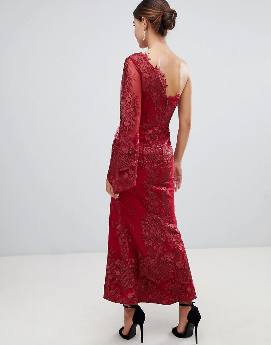 2ab363301d7 Bariano One Shoulder Embroidered Lace Midi Dress In Red in Red - Lyst