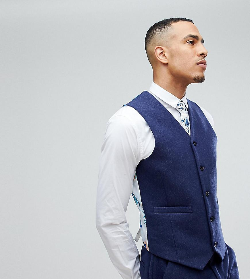 Pick A Best Sale Online Buy Cheap Good Selling TALL Wedding Skinny Suit Waistcoat In Navy - Navy Asos a5hugPQ