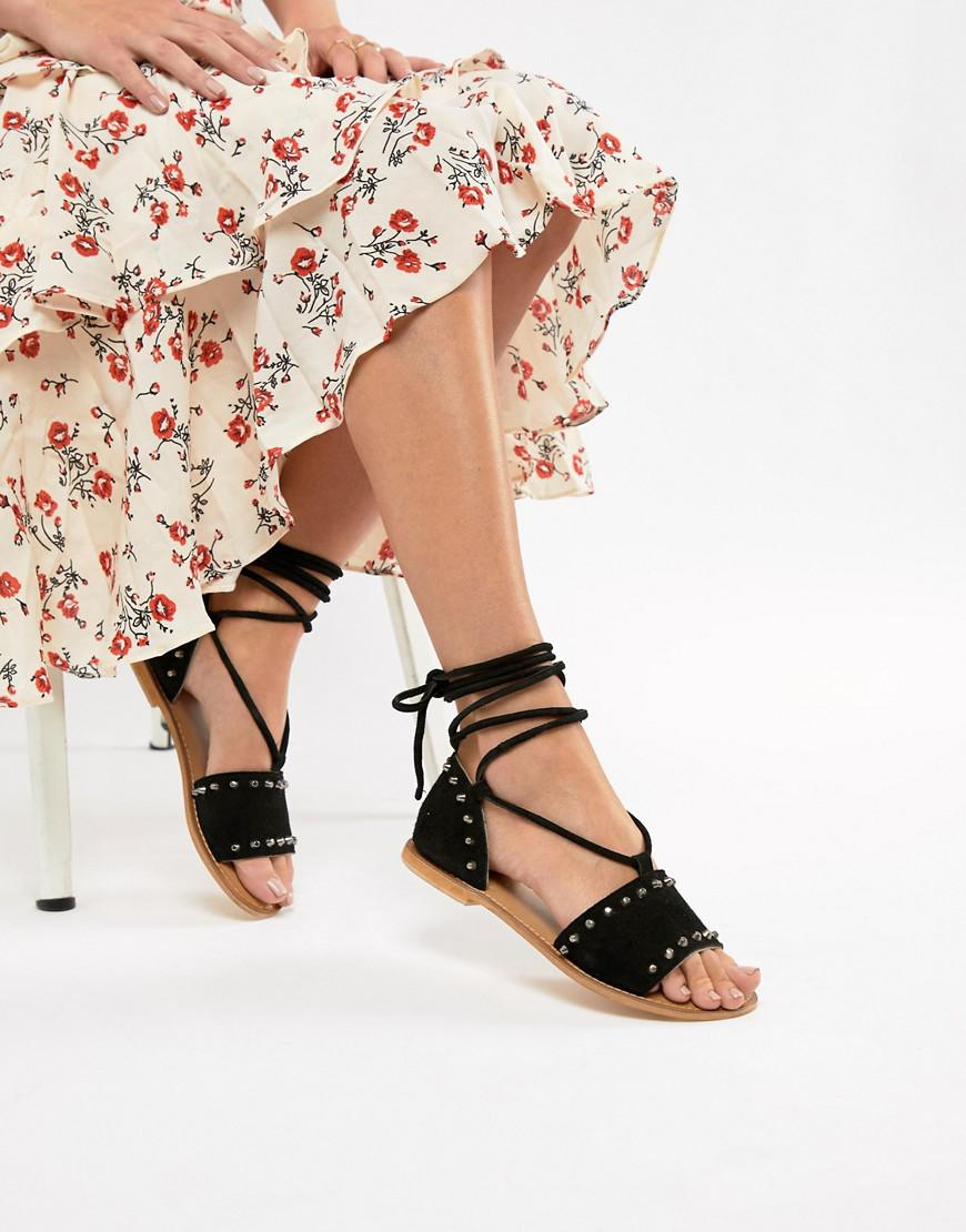 a56af89a0c818 Lyst - ASOS Foster Suede Studded Two Part With Tie Leg in Black