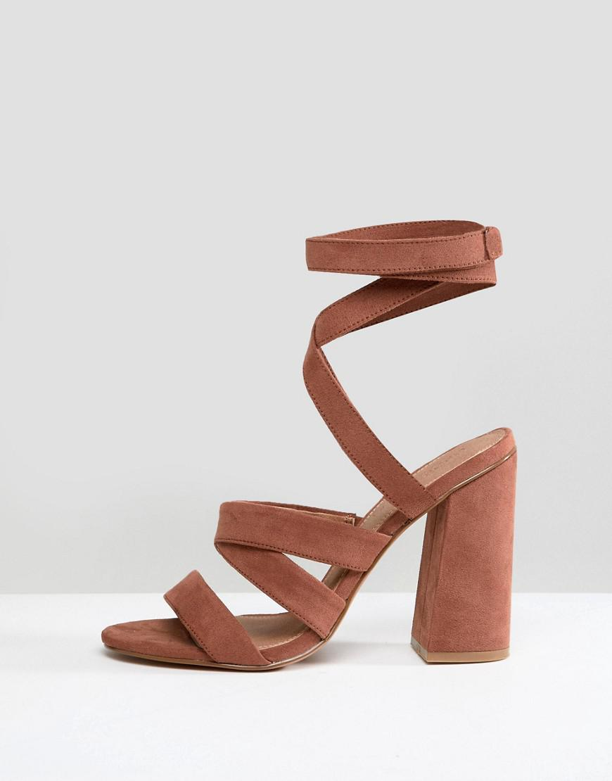 ed356fd00d4 Lyst - ASOS Halliwell Block Heeled Sandals in Brown