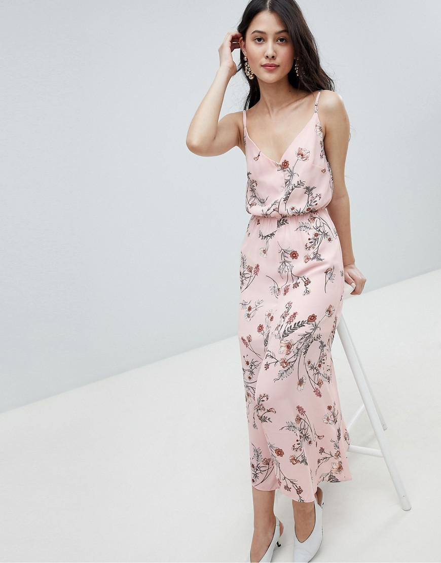 Oh My Love Buttoned Cami Maxi Dress In Floral Print In Pink Lyst