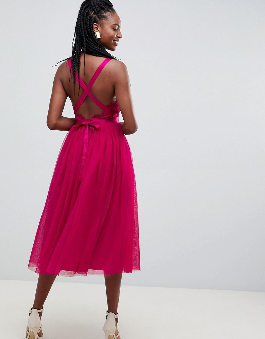 b6eb3a5927b9 ASOS Asos Design Tall Lace Top Tulle Midi Prom Dress With Ribbon Ties in  Pink - Lyst