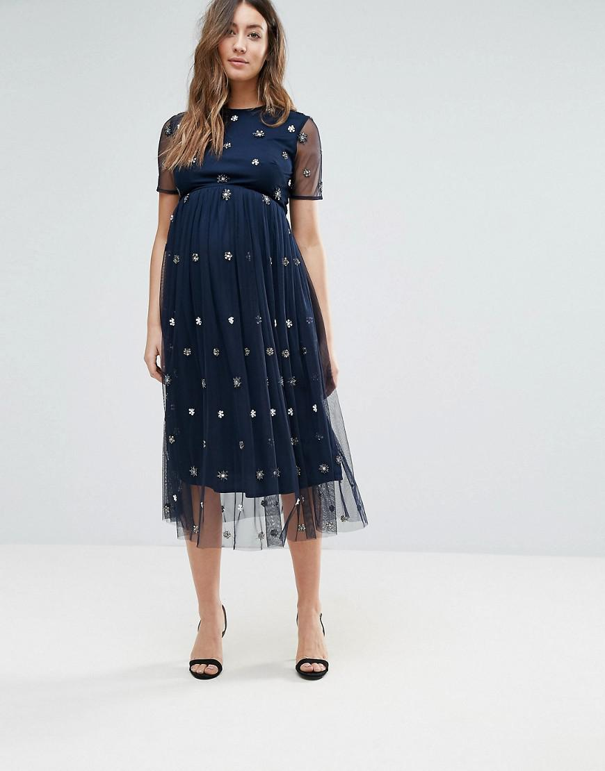 df04886529c20 Image result for Maya Maternity Midi Dress With 3D Embellishment