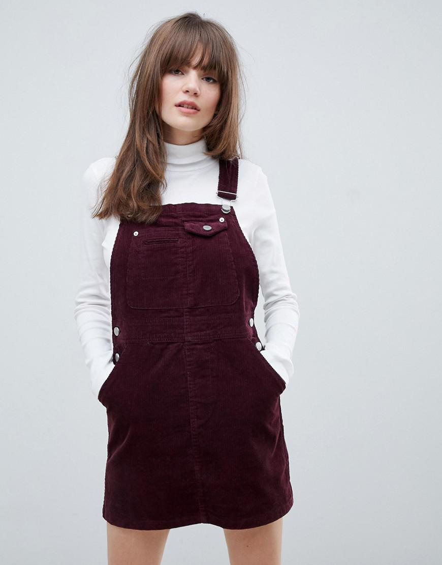4ff6a03658 Lyst - ASOS Cord Dungaree Dress In Oxblood in Red