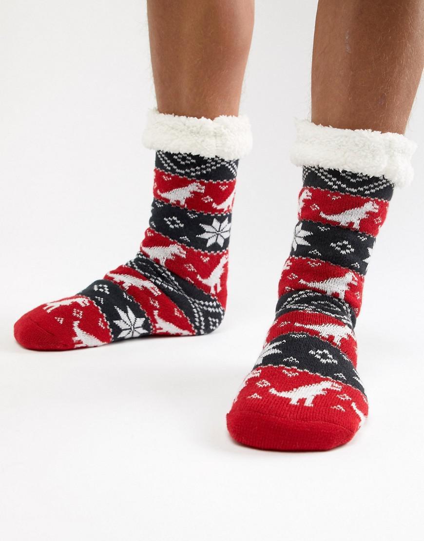 862d6a71b619 ASOS Holidays Slipper Socks In Dinosaur Fairisle in Blue for Men - Lyst