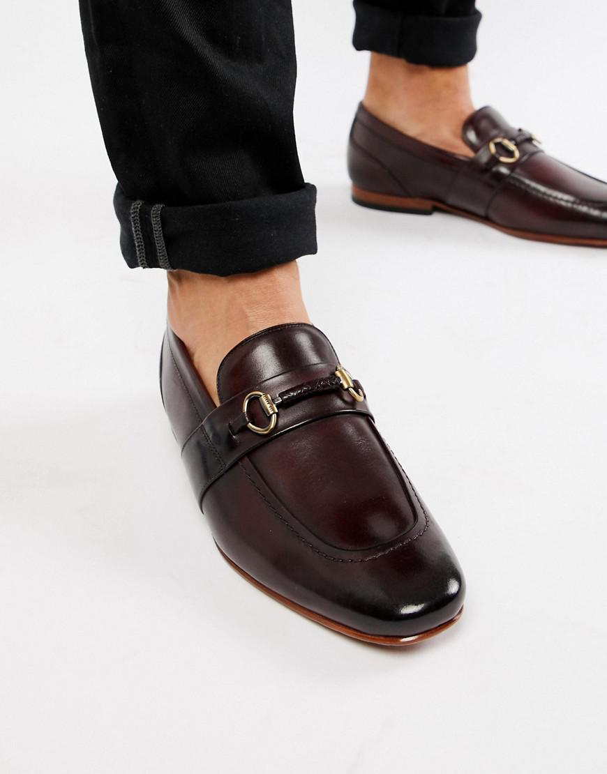 6ebcadaf6 Lyst - Ted Baker Daiser Bar Loafers In Burgundy Leather in Red for ...