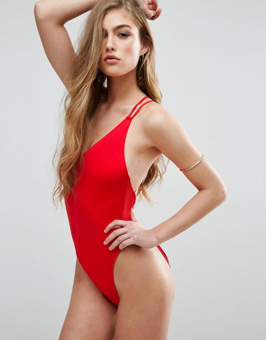 e778e626bda77 Lyst - ASOS Recycled Cross Back High Leg Swimsuit in Red