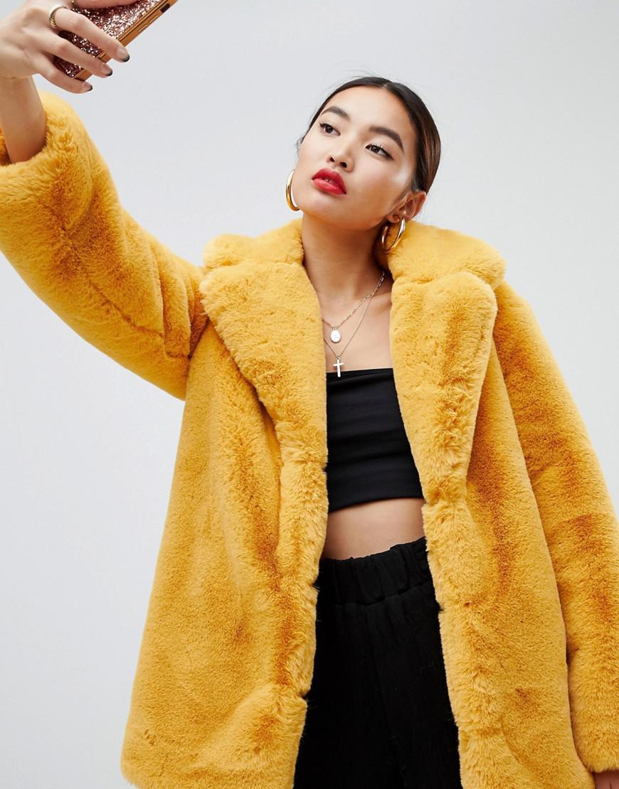 eabdb71253c Lyst - NA-KD Oversized Faux Fur Coat In Mustard in Yellow