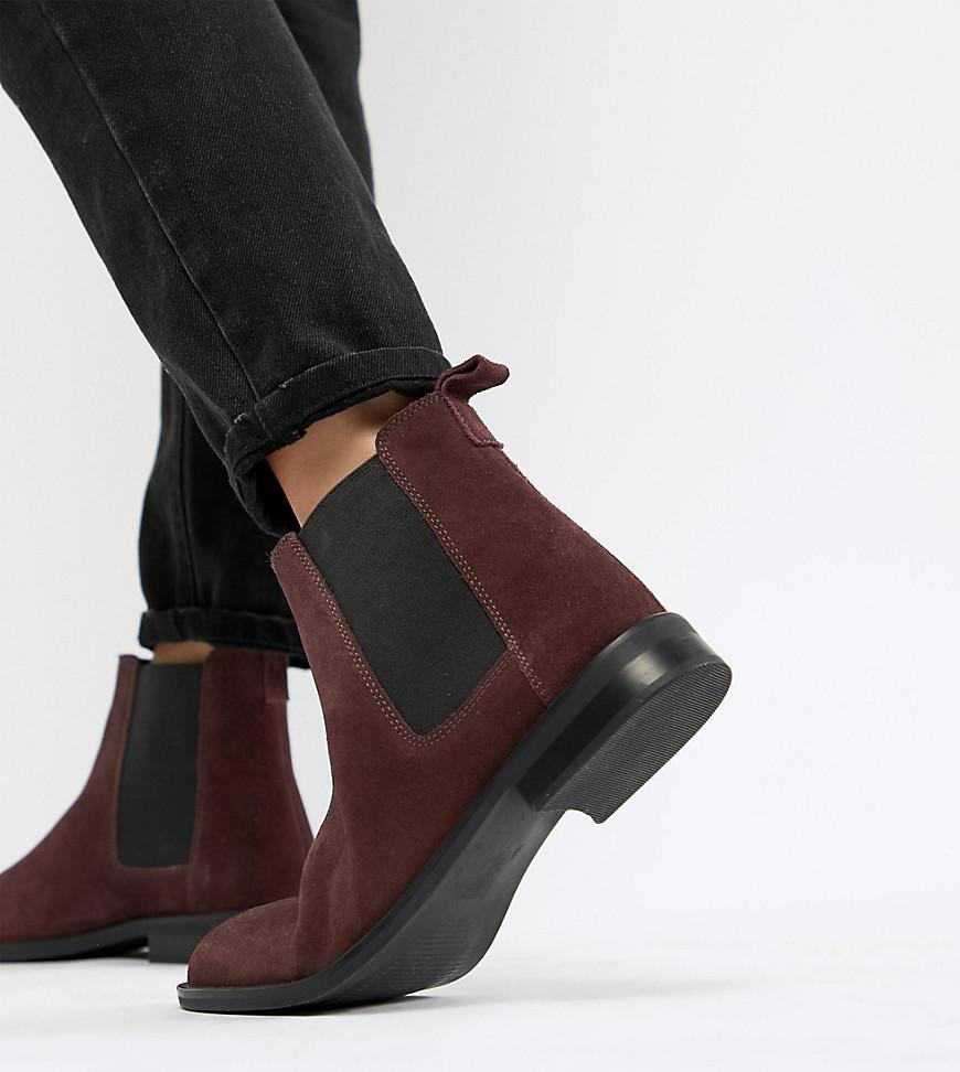 37d896559b4 Lyst - ASOS Wide Fit Aura Suede Chelsea Ankle Boots in Red