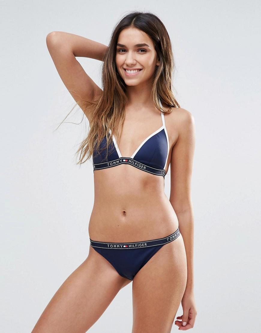 Tommy Hilfiger Logo Tape Triangle Bikini Top In Blue Lyst
