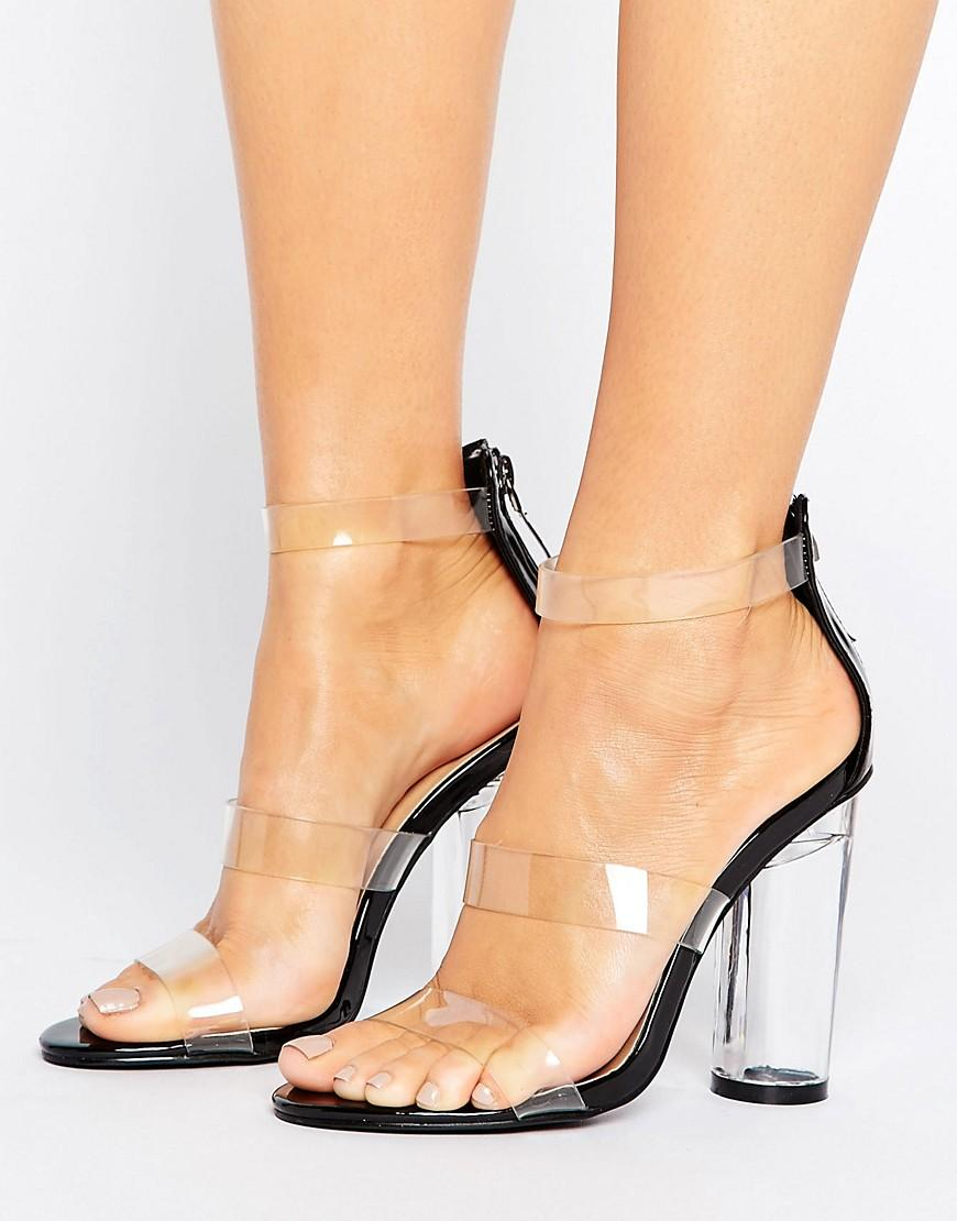 truffle collection see through perspex heel sandal in