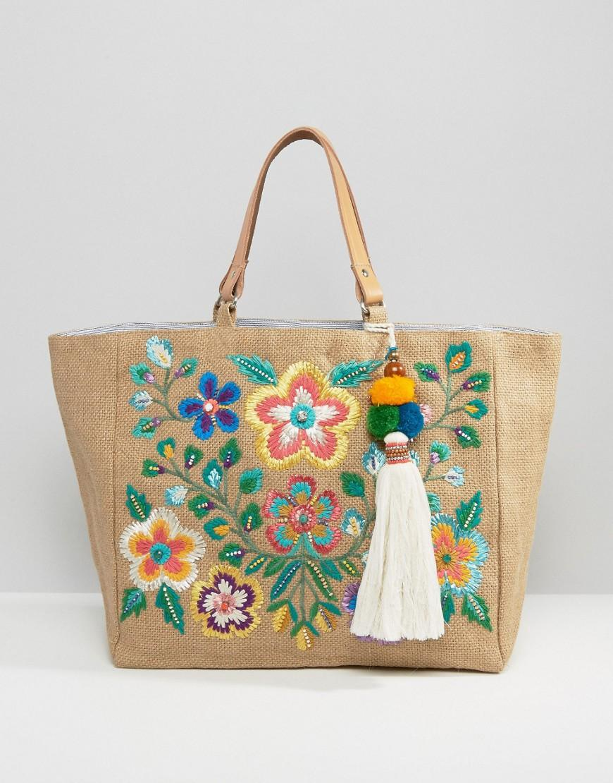 Lyst star mela multi embroidered beach tote bag