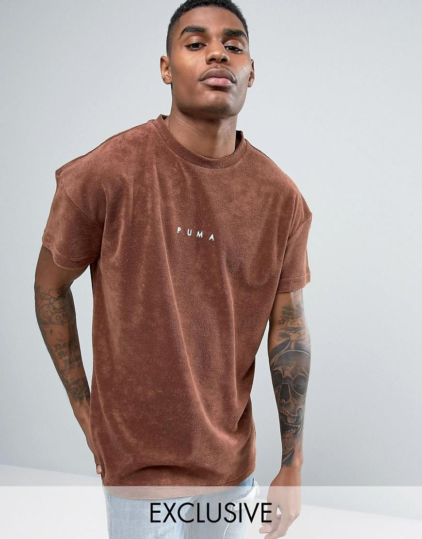 b6764fcff91 PUMA Towelling T-shirt In Brown Exclusive To Asos 57533302 in Brown ...