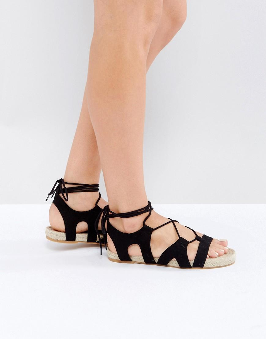 Woven Lace Up Flat Shoes Asos