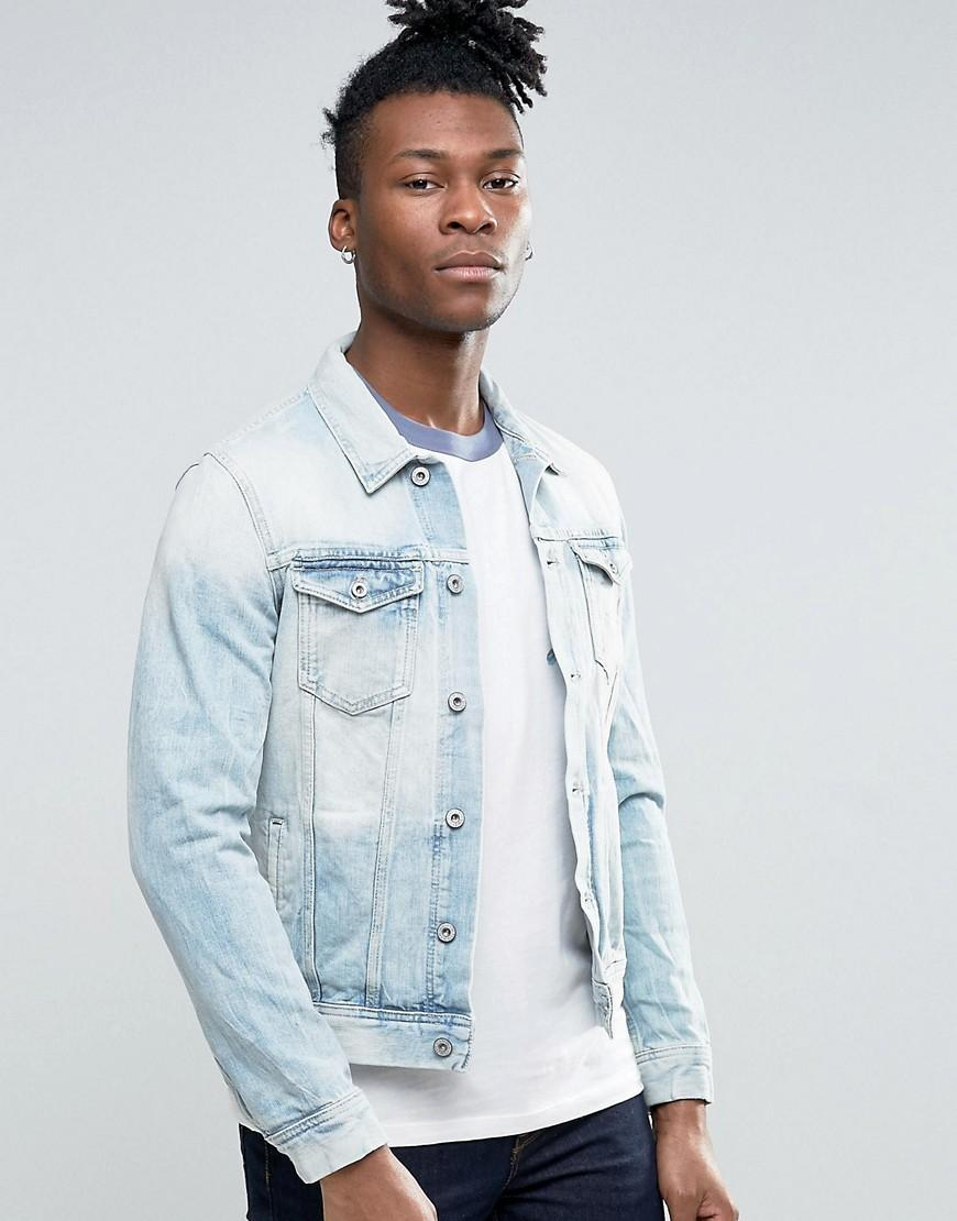 pepe jeans light wash denim jacket in blue for men  lyst