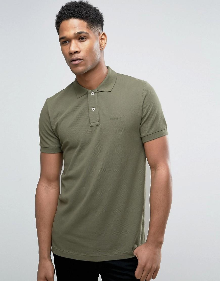 Lyst Esprit Slim Fit Pique Polo Shirt In Green For Men