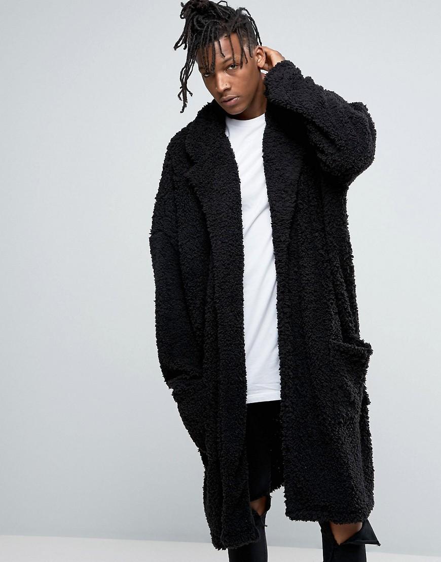 asos extreme oversized borg duster coat in black in black. Black Bedroom Furniture Sets. Home Design Ideas