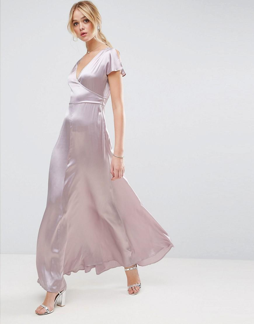 Asos premium wrap satin maxi dress in purple lyst for Robe maxi mariage asos