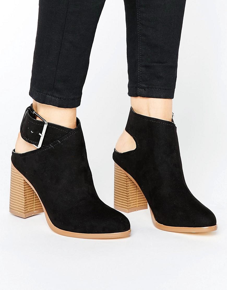 new look suedette slingback heeled ankle boot in black lyst